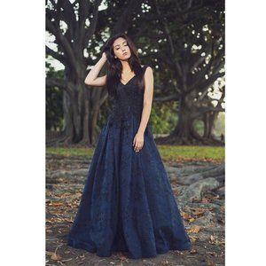 Black and Navy Blue Lace Ball Gown